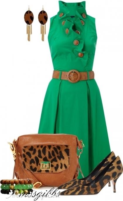 ست لباس سبز یشمی
