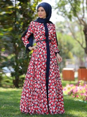 الورود لمسة تزين فساتين المحجبات الخاصة بموسم ربيع 2017