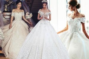 تشكيلة راقية من فساتين الزفاف بلمسة الأكتاف المنسدلة لعروس 2017