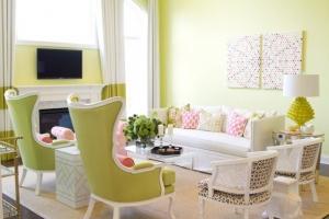 امنحي غرفة المعيشة جمالية راقية مع لمسة من اللون الأخضر لربيع 2017