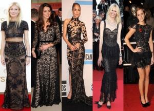 تألق النجمات بجمالية في إطلالتهن بفستان الدانتال الأسود فمن الأجمل ؟