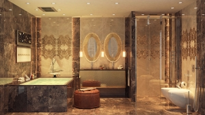 الخامة الكلاسيكية تميز جمالية الحمامات المنزلية