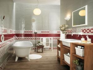 اجعلي حمامك أنيقا بمزج رونق اللون الأحمر والأبيض
