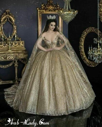5d3ea40b7ff60 فساتين زفاف باللون الذهبي - منتديات دفى الشوق